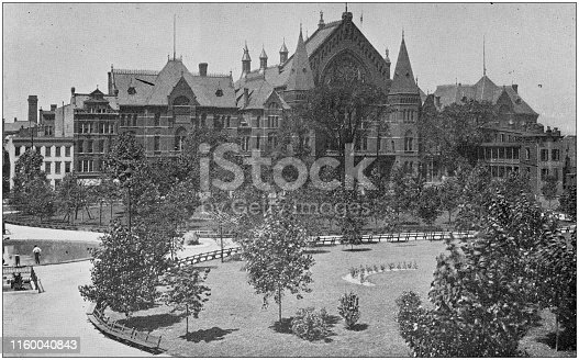 Antique black and white photo of Cincinnati, Ohio: Music Hall and Washington Park