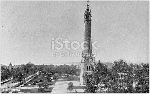 Antique black and white photo of Milwaukee, Wisconsin: City Water Tower