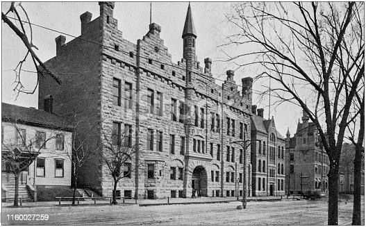 Antique black and white photo of Milwaukee, Wisconsin: Police Station