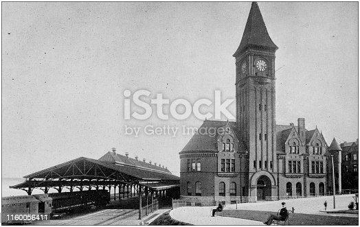 Antique black and white photo of Milwaukee, Wisconsin: Railway Depot