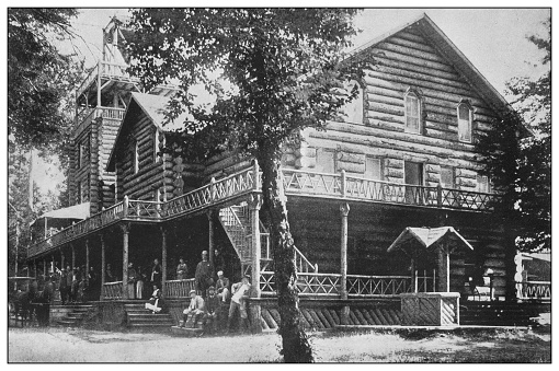Antique black and white photo of the United States: a lodge in the Adirondacks