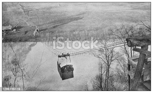 Antique black and white photo of the United States: Aerial cable-car across the Tennessee river at Knoxville