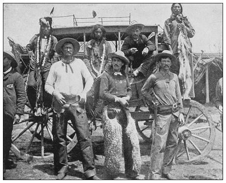 Antique black and white photo of the United States: Arizona Stage-Coach and passengers