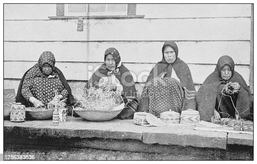 Antique black and white photo of the United States: Basket weavers, Sitka, Alaska