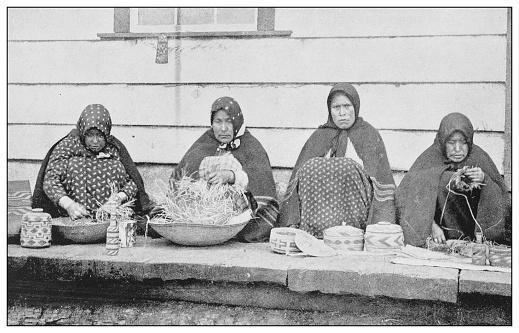 Antique black and white photo of the United States: Basket weavers, Sitka, Alaska
