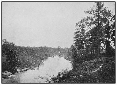Antique black and white photo of the United States: Buffalo Bayou, Texas