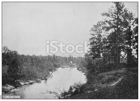 Antique black and white photo of the United States: Buffalo Bayou, Texas