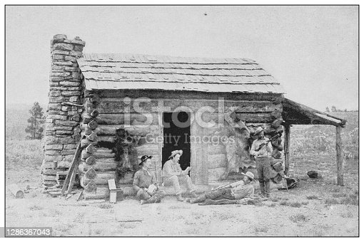 Antique black and white photo of the United States: Camp of Cinnamon Bear Hunters, New Mexico