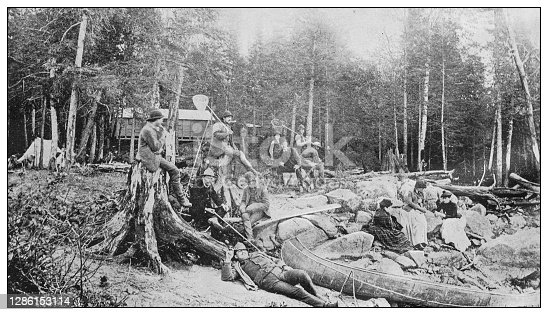Antique black and white photo of the United States: Camping in the Catskill Mountains