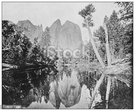 Antique black and white photo of the United States: Cathedral rocks