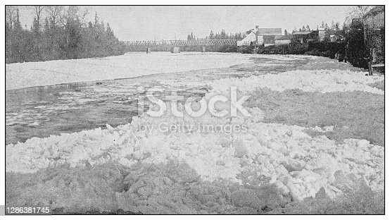 Antique black and white photo of the United States: Columbia river, Winter