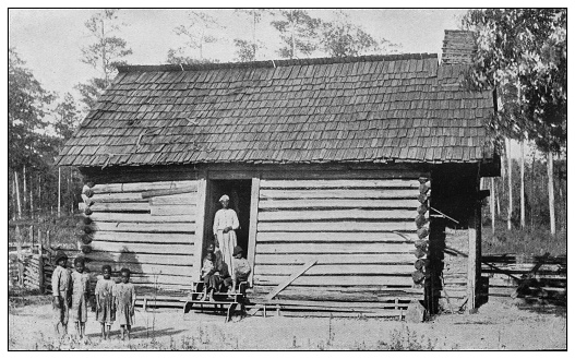 Antique black and white photo of the United States: Family in Old Scotia, Missouri