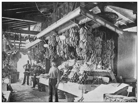 Antique black and white photo of the United States: French market, New Orleans