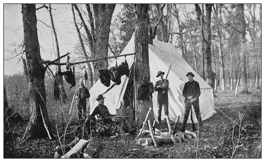Antique black and white photo of the United States: Hunter's camp, Clear Lake, Illinois