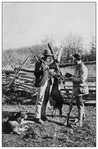 Antique black and white photo of the United States: Hunting turkeys on the Ozark mountains