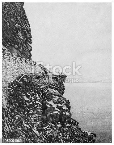 Antique black and white photo of the United States: Lake Tahoe and Cave Rock