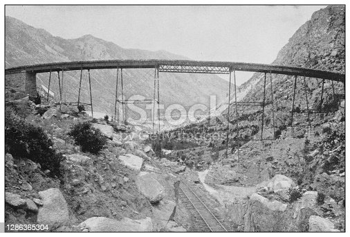 Antique black and white photo of the United States: Loop and bridge in Georgetown, Colorado