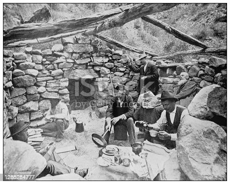 Antique black and white photo of the United States: Lunch break on the way to Grand Canyon, Colorado