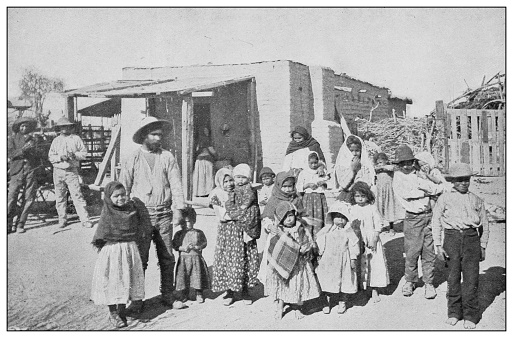 Antique black and white photo of the United States: Mexican family, Arizona