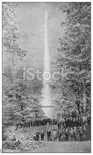 Antique black and white photo of the United States: Multnomah Falls, Oregon