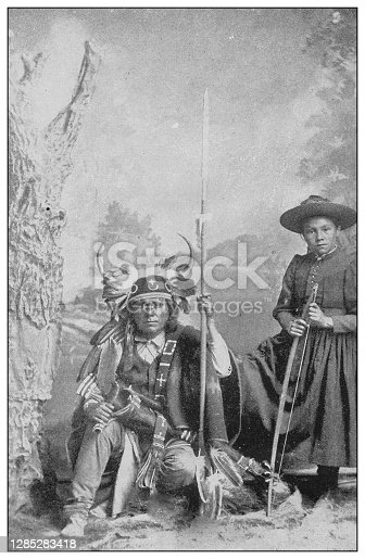 Antique black and white photo of the United States: Navajo war-chief and daughter