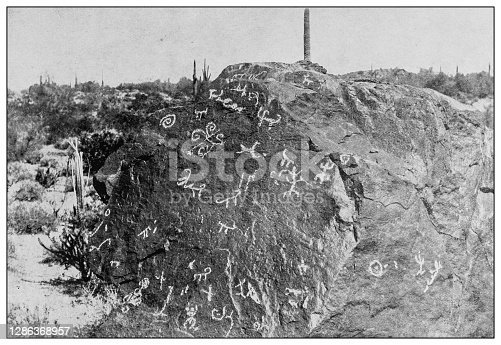 Antique black and white photo of the United States: Prehistoric Hieroglyphics, Phoenix, Arizona