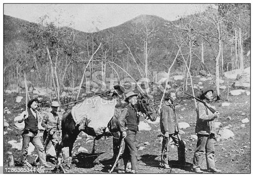 Antique black and white photo of the United States: Prospectors in the Rocky Mountains