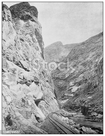 Antique black and white photo of the United States: Royal Gorge, Colorado