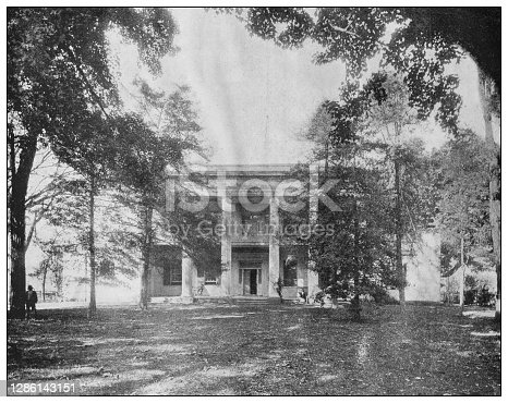 Antique black and white photo of the United States: The Hermitage, home of Andrew Jackson, near Nashville