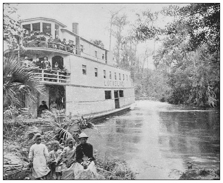 Antique black and white photo of the United States: Tourists on the Ocklawaha river, Florida