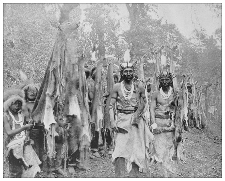 Antique black and white photo of the United States: White deerskin dance