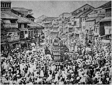 Antique black and white photo of travel around the World: Festival in Bombay