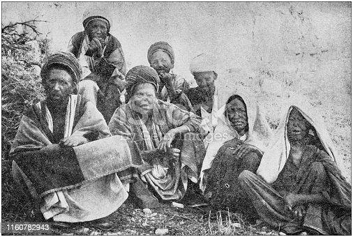 Antique black and white photo of travel around the World: Lepers