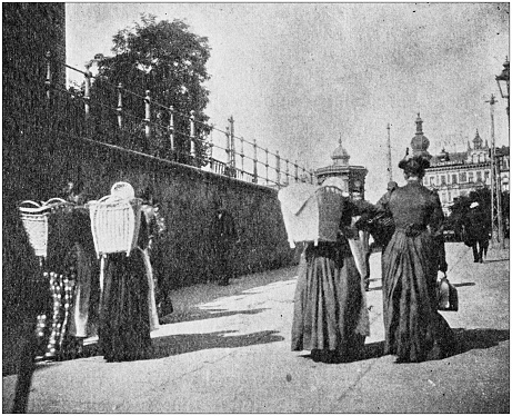 Antique black and white photo of travel around the World: Market women, Austria