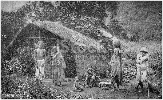 Antique black and white photo of travel around the World: Native hut in India