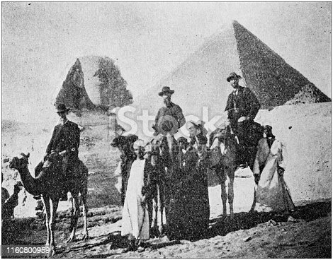 Antique black and white photo of travel around the World: Pyramids and Sphinx