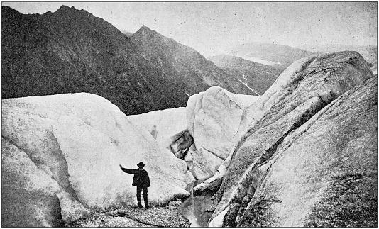 Antique black and white photo of travel around the World: Svaristen Glacier, Norway