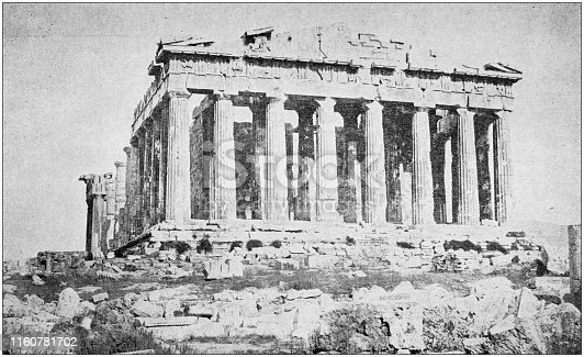 Antique black and white photo of travel around the World: The Parthenon, Athens