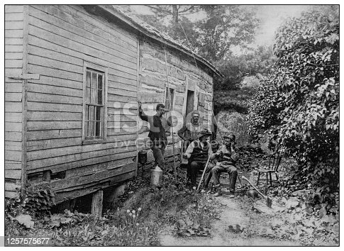 Antique black and white photo: Old log cabin, Fish lake, Indiana