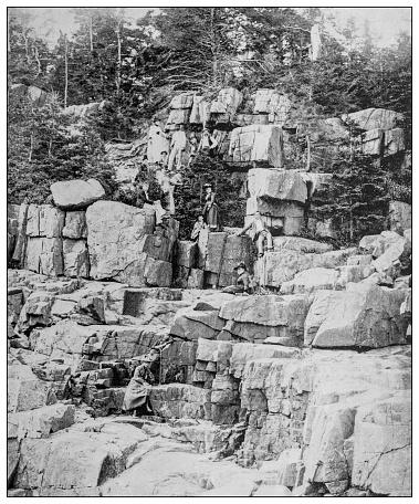 Antique black and white photo: Otter Cliffs, Mt Desert, Maine