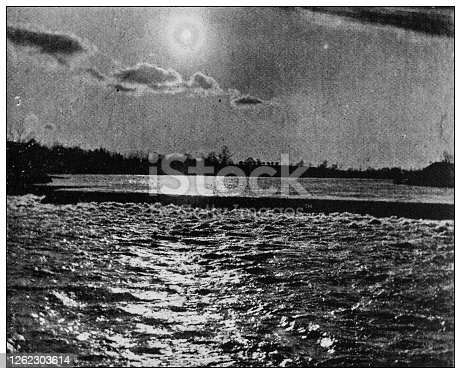 istock Antique black and white photo: Seneca River 1262303614