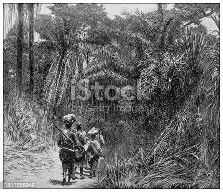 Antique black and white photograph: African exploration