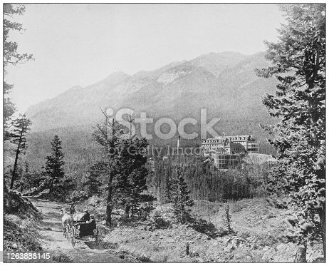 Antique black and white photograph: Banff, Canada