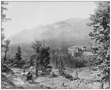 Antique black and white photograph: Banff, Canada