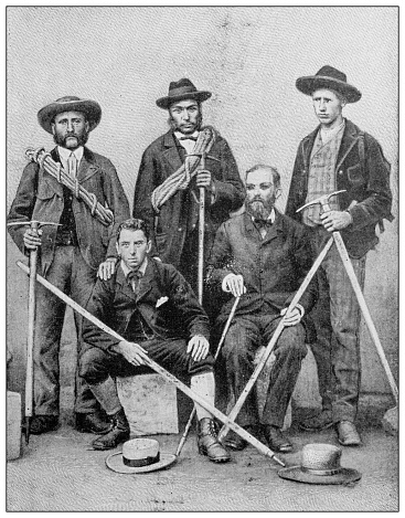 Antique black and white photograph: Blind men who climbed Mont Blanc, M Campbell