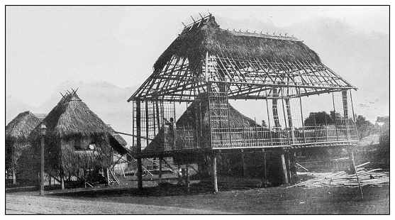 Antique black and white photograph of people from islands in the Caribbean and in the Pacific Ocean; Cuba, Hawaii, Philippines and others: Building a new house in a village, Philippines