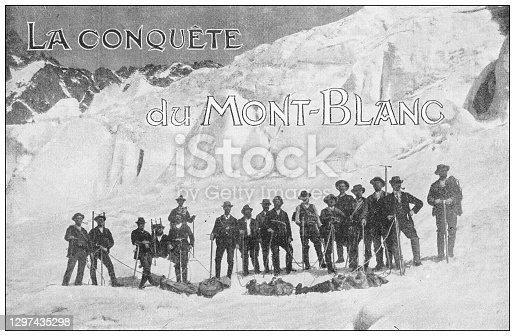 Antique black and white photograph: Conquering Mont Blanc
