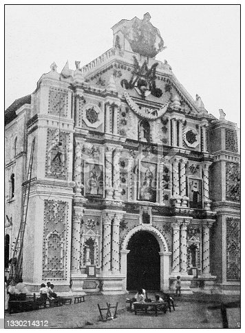 istock Antique black and white photograph: Convent of St Augustine, Manila, Philippines 1330214312