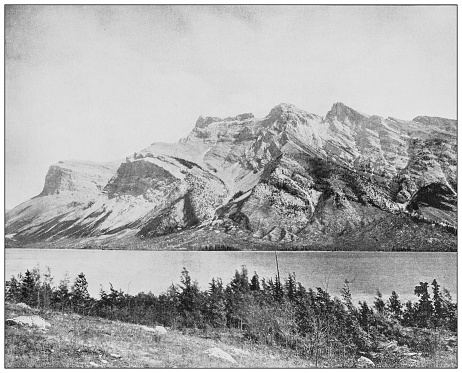 Antique black and white photograph: Devil Lake, Banff