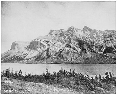 Antique black and white photograph: Devil Lake, Banff